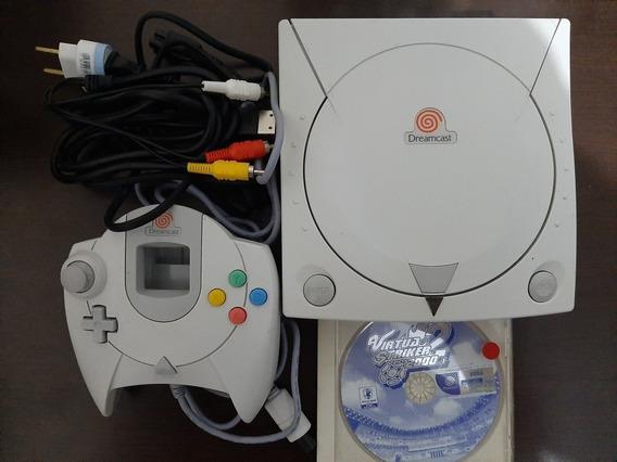 Dreamcast + Controle + Jogo Virtua Striker 2000