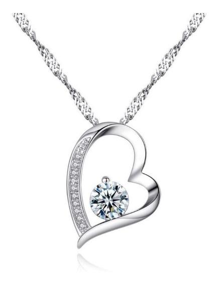 Collar Y Dije Plata .925 Corazón Zirconia Regalo Dama Mujer