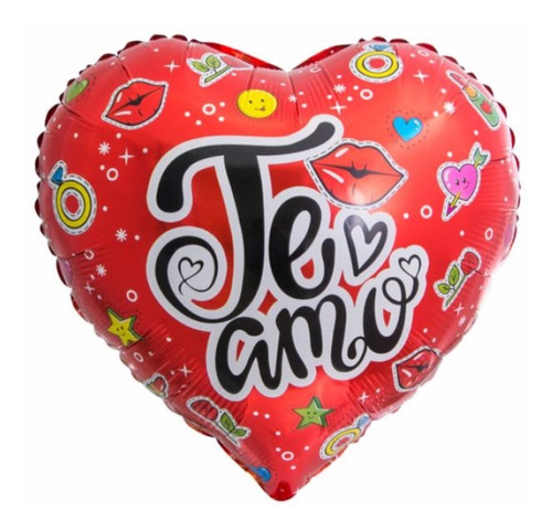 10 Pack Globo Metalizado Te Amo Dibujos Corazón Rojo 45 Cm