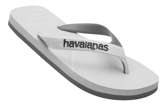Chinelo Novas Havaianas Casual - Branco Cinza