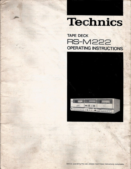 Manual De Instruções Tapedeck Technics Rs-m222