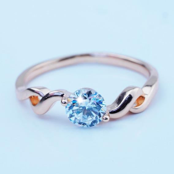 Anillos Compromiso Oro 18k Diamante Regalo Princesa Zirconia