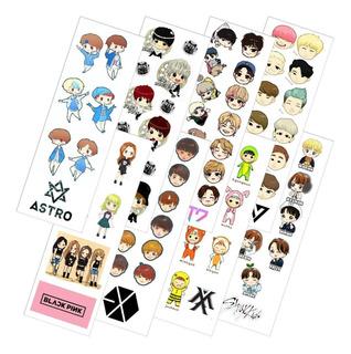 Combo De 8 Planchas De Stickers De K-pop Promo Bts Got7 Exo