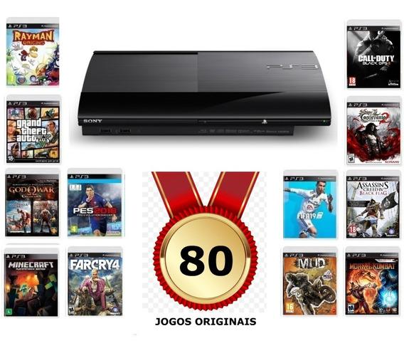 Playstation 3 Ps3 250 Gb Super Slim + 82 Jogos Completos