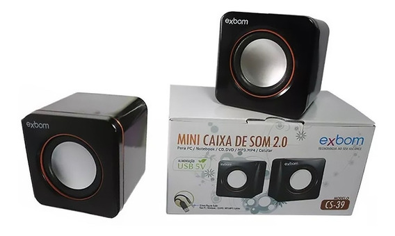Mini Caixa De Som 2.0 Para Pc Notebook 4w Rms Exbom Cs-39