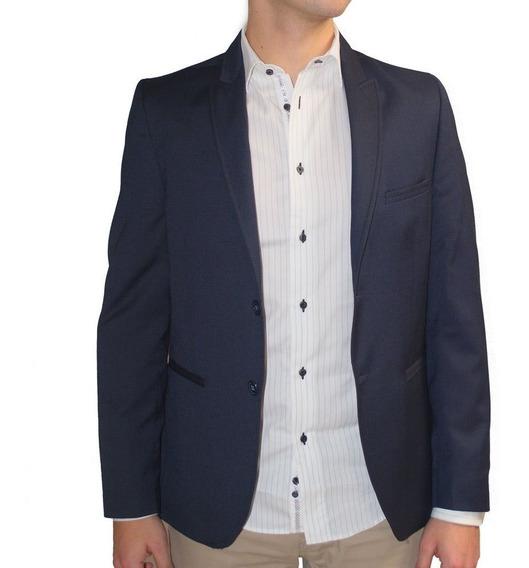 Saco Casual Hombre Corte Blazer Formal Azul Marino