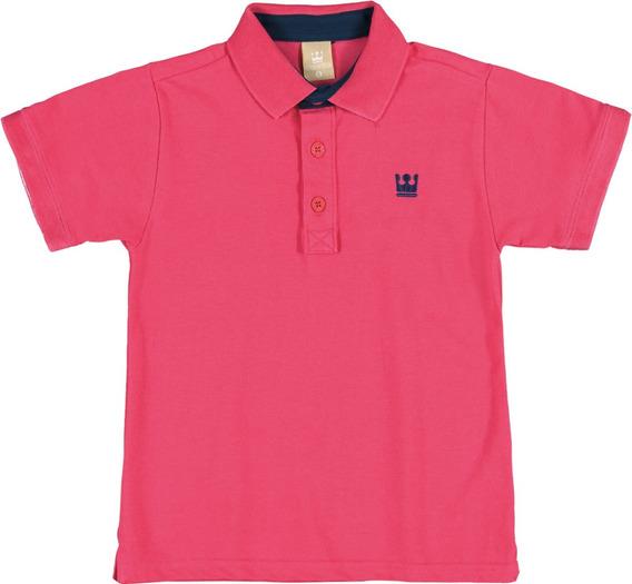 Polo Infantil Colorittá Em Pique Pink