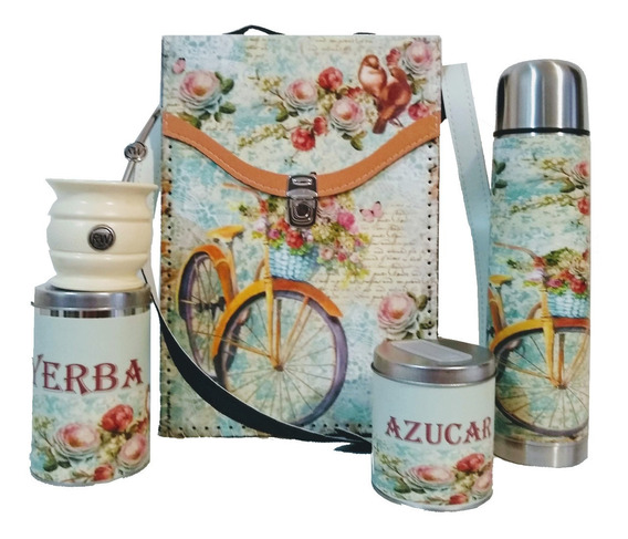 Set Matero Kit Equipo Cartera Morral Flores Y Bicicleta
