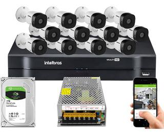 Kit Cftv 12 Cameras 1220b G5 1080 Intelbras Dvr 1116 S/ Cabo