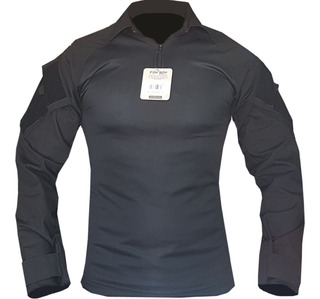 Combat Shirt Preta Reforçada Rip Stop Foxboy Lançamento