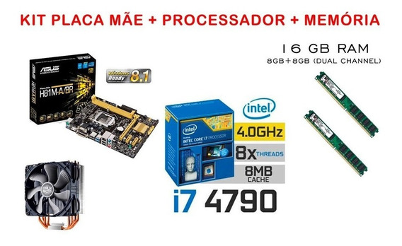 Kit Intel Core I7 4790 + 16gb Ram + Placa Mãe Asus + Cooler