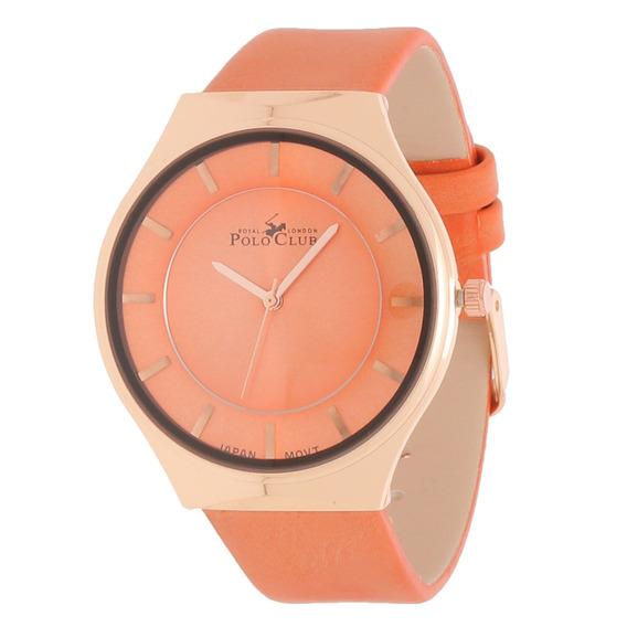 Reloj Dama Mano Polo Club Mujer Naranja Rlpc2938a