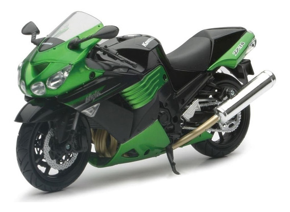Moto Kawasaki Ninja Zx-14r Escala 1:12 New Ray Verde/negro