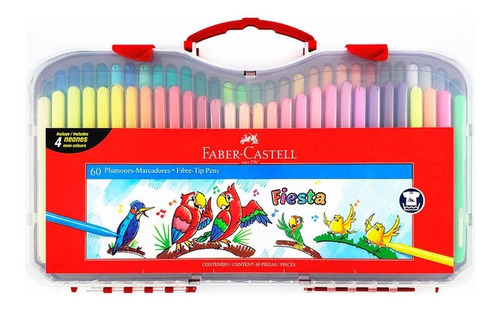 Marcadores Faber Castell Fiesta X60 Colores Valija Plastica