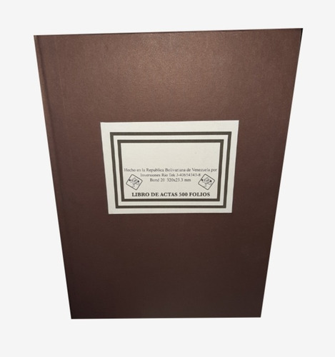 Libro De Actas De 200 Folios Papel Blanco