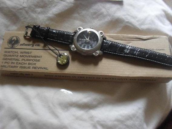 Relógio Analogico Infantry Pulseira De Couro Novo Caixa