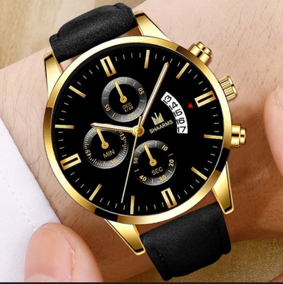 Relógio Masculino Shaarms Preto & Dourado. Branco & Dourado.