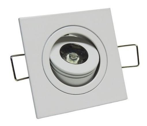 Mini Spot Quadrado Direcionável Embutir Led 1w Dicroica