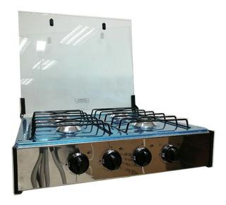 Cocineta A Gas 4 Quemadores Acero Inoxidable Tapa De Vidrio