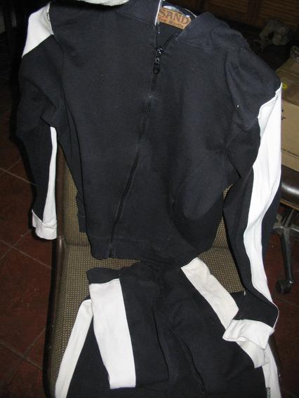 Conjunto Buzo Calza Negro Blanco M Campera Mgr Lycra Algodn