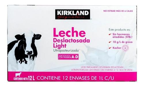 Imagen 1 de 2 de Caja Leche Deslactosada Light, Kirkland Signature 12 Pzas 1l