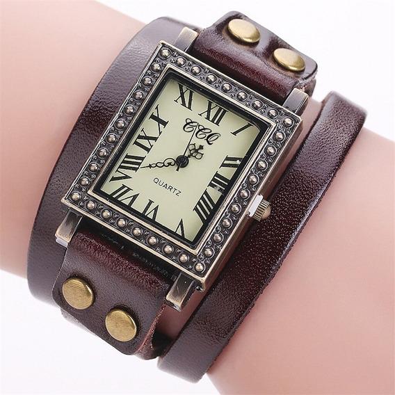 Relógio Roma Quadrado Vintage Ccq Pulseira Couro Frete 10,00