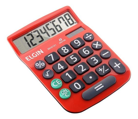 Calculadora Mesa Elgin 8 Dígitos Com Célula Solar Vermelha