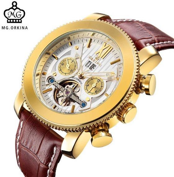 Relógio Masculino Automático Turbilhão Orkina Couro Marrom
