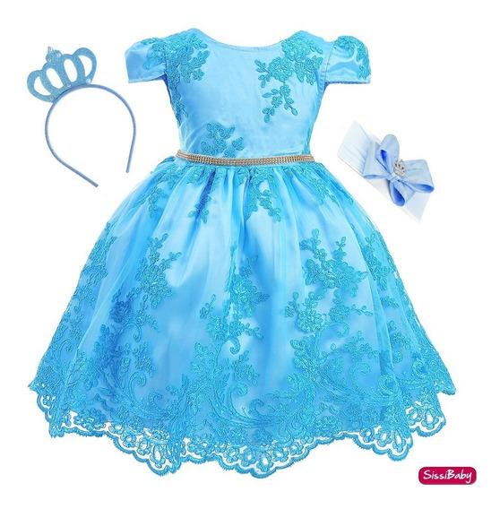 Vestido Infantil Princesa Frozen Cinderela Alice 2 Tiaras