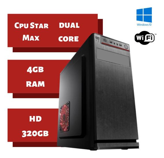 Cpu Nova Star Dual Core 4gb Ram Hd 320gb Win 10 Brindes !!