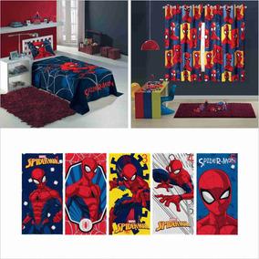 180096ec9b Kit 5 Pçs Jg Cama 2p+cortina 2p+toalha Infantil Homem Aranha