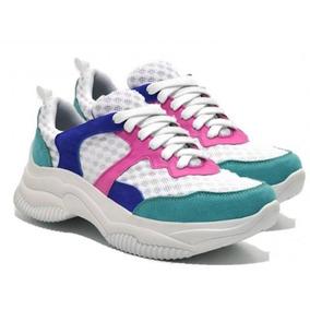 Tênis Feminino Chunky Sneaker Recortes Cadarço Dia Dia