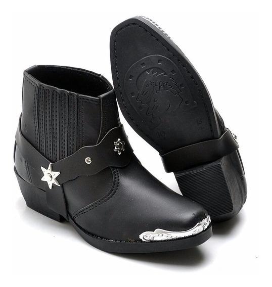 Bota Botina Infantil Country Kids Couro Texana Confort Boots
