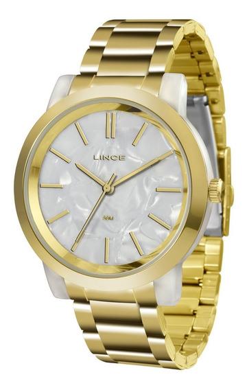 Relógio Lince Feminino Lrt613p B1kx Acrílico Dourado