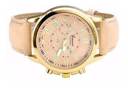 Relógio Dourado Pulseira Bege Feminino Rg001f Promoção!!!