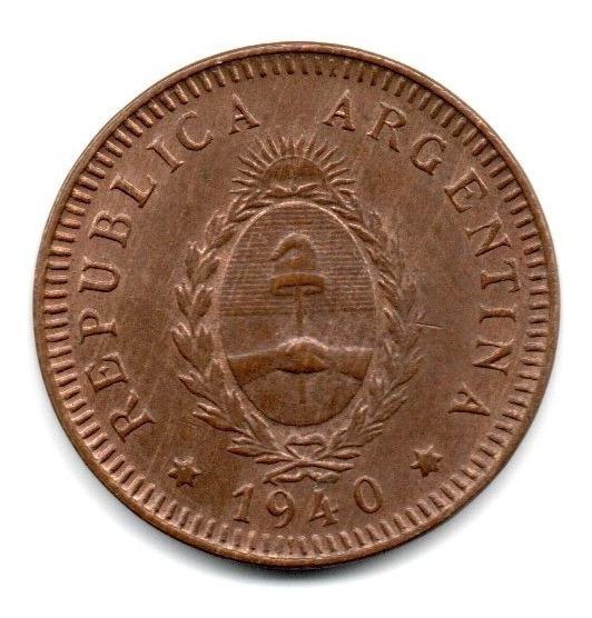 Moneda Argentina 2 Centavos Año 1940 Cobre Sin Circular