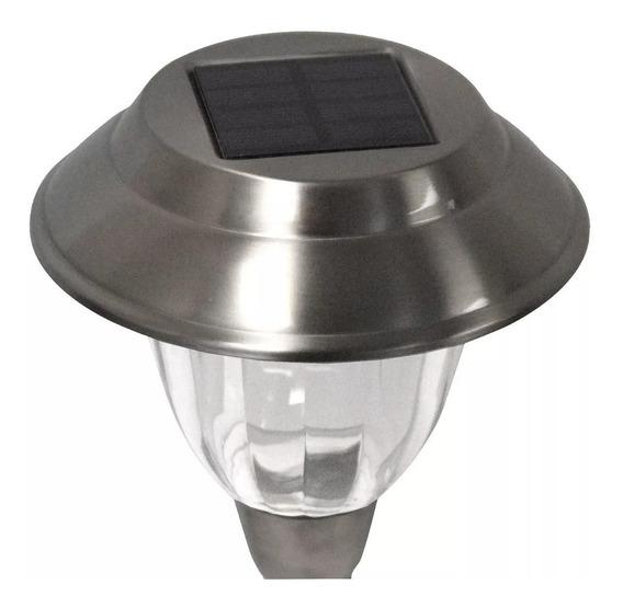 Kit 4 Luminárias De Led Solar Inox Iluminação Do Jardim Chão