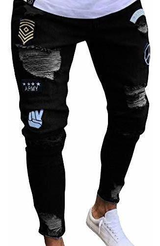 Pantalones De Mezclilla Delgados Angustiados Para Hombres Pa Mercado Libre