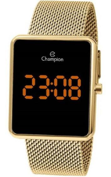 Relógio Feminino Champion Digital Led Lcd Dourado Ch40080j