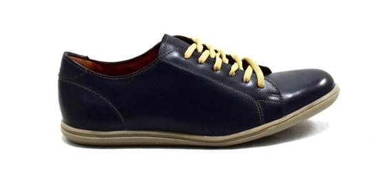 Zapatillas De Cuero Azul Para Hombre Con Suela De Goma