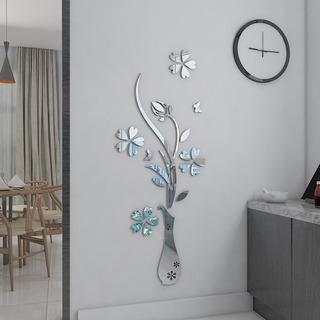 Espejo Decorativo De Pared Figura Jarron Con Flores Cristal