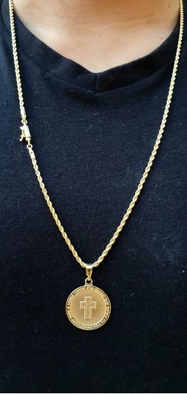 Corrente Cordão Baiano Banhado A Ouro 18k Pingente 70cm