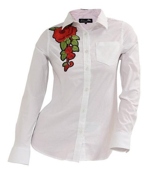 Camisa Blanca Dama Mujer Trd Blanca Bordado Trcd00117