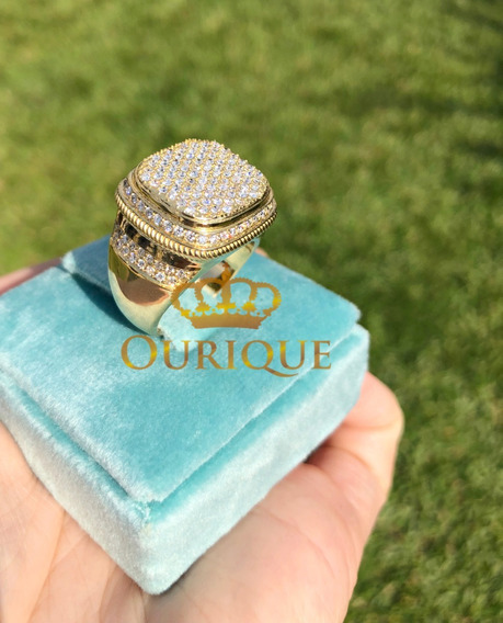Anel Masculino Pavê De Diamantes 1,12 Cts Ouro 18k 750 Luxo