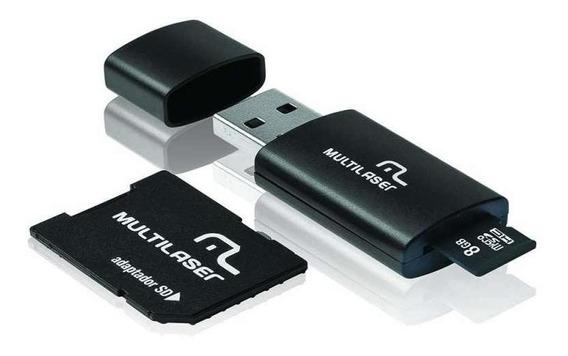 Kit 3 Em 1 Pendrive + Adaptador Sd + Cartão De Memória Classe 4 Com Trava De Segurança 8gb Preto Multilaser - Mc058
