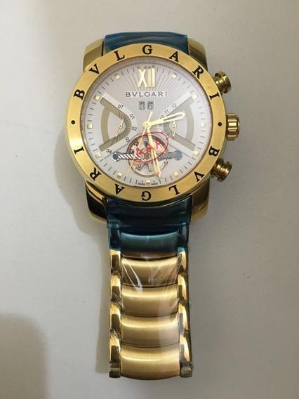 Relógio Bv Iron Man Dourado F/branco Original