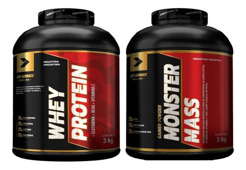 Imagen 1 de 7 de Whey Protein X 3kg + Mass Gainer X 3 Kg. Body Advance