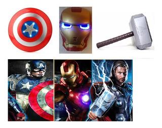 Escudo Capitán América + Másc + Martillo Thor - 6 Cuo S/int