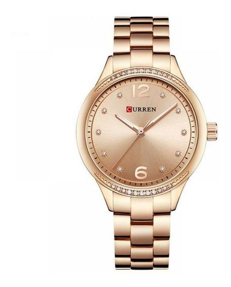 Relógio Feminino De Aço Rosê Com Pedrinhas Curren 9003