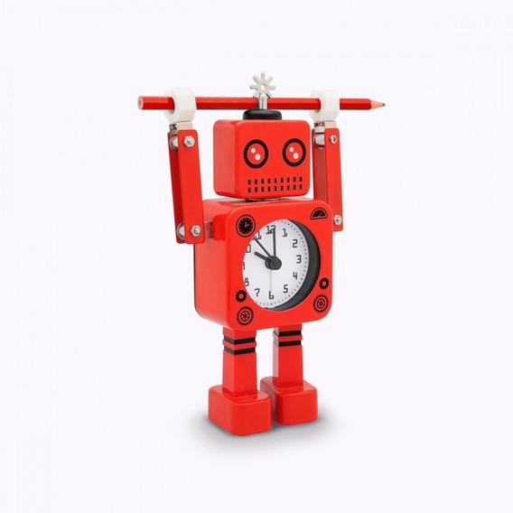 Reloj Despertador Robot Roboclock Metal Retro